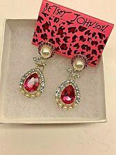 Betsy Johnson Fashion Red Crystal Pearl Rhinestone Teardrop Dangle earrings