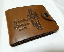 Bailini Genuine Leather Cowboy Wallet with Snap pocket Quality Stitched USA