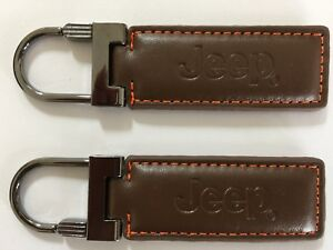 New Jeep Key Chain Ring Genuine Brown Leather Patriot Compass Grand Cherokee