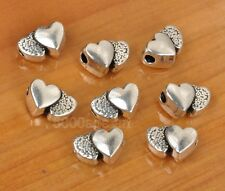 15Pcs Tibetan Silver Double Heart Spacer Beads Charms spacer bead 12x8mm A3351
