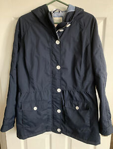 FAT FACE LADIES LIGHTLY PADDED RAIN JACKET WITH HOOD. NAVY BLUE. SIZE 14