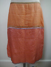 DOSA coral orange and yellow striped silk skirt tiny rhinestone details size 3