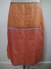DOSA coral orange and yellow striped silk skirt tiny rhinestone details size 3