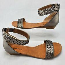 Nine West Marisole Leather Zip Back Ankle Strap Open Toe Sandals Size 10M Silver
