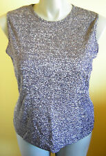 Ladies Womens Sleeveless Evening Top Blouse Navy Silver Sparkle Ms.Read Size 18