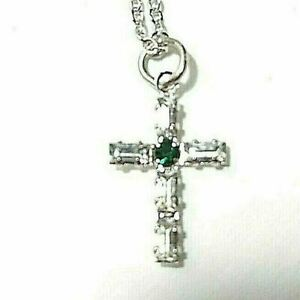 "Cross Silver Pendant Necklace Gift 18"" Sterling Made with Swarovski Crystals NEW"