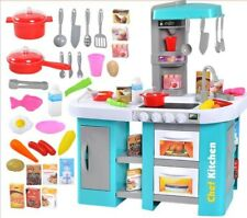 Kitchen Play Set Pretend Baker Kids Toy Cooking Playset Food Little Bakers Blue