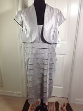 NWT London Times STEEL Shimmer Sheath Tiered Dress W/Bolero  SIZE 16  FORMAL 1pc