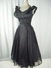 DAVID HART Vtg 50s Black Chiffon Bows Gathered Front Dress-Bust 33/XXS