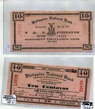 1942 Philippines 10 Centavos Currency National Bank Note Xf 8669E