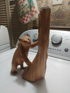 RARE Artist John Sinn Ocala Florida Hand Carved Wood Bear Tree Figure Signed