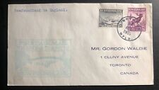 1939 Botwood Newfoundland FFC airmail First Flight Cover To England