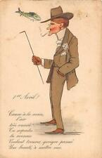 FRANCE APRIL FOOLS DAY MAN IN SMOKING SUIT & FISH POSTCARD (c. 1910)