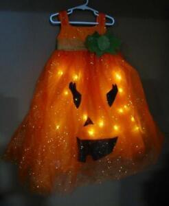 NWT Pottery Barn Kids LIGHT UP PUMPKIN TUTU Dress Halloween Costume Girls 7 - 8