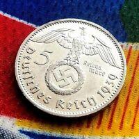 1939 F 5 Mark WW2 German Silver Coin Third Reich Swastika Reichsmark AU