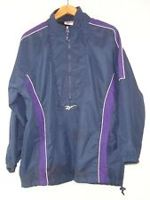 Reebok Mens Light Blue Purple Stripe Quarter Zip Track Suit Top Size L