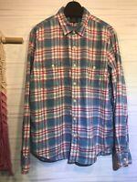 J. Crew Men's Blue Plaid Print Button-Down Slim Fit Flannel Shirt Size XL