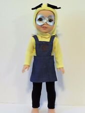 """Minion Dress Pant Set Costume Fits Wellie Wishers 14.5"""" American Girl Clothes"""