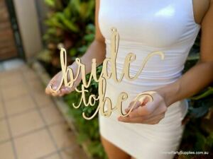 Wooden Bride To Be Engagement Wall Sign Centrepiece - 30cm x 30cm