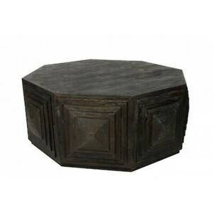 """46"""" W Coffee Table Recycled Solid Wood Dark Finish Octagon Square Side Detail"""