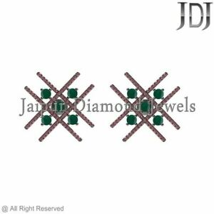 925 Sterling Silver Natural Emerald Ruby Gemstone Hashtag Stud Earrings Jewelry