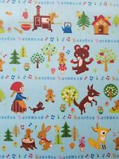 KOKKA Cosmo Japanese Import Cotton Canvas Fabric GINGERBREAD MAN FQ Blue