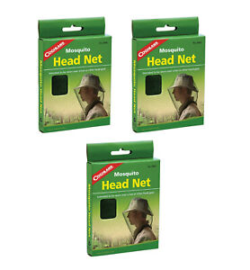 COGHLANS MOSQUITO HEAD NET 3-PACK #8941 MESH INSECT HEADNET MOZZIE BUG NET