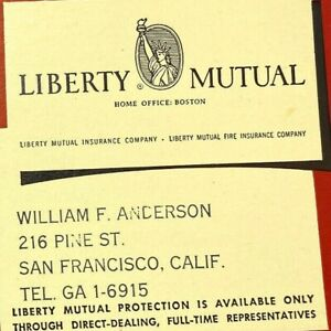 Vintage 1950s Liberty Mutual Insurance William Anderson Pine Street SF Blotter