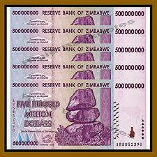 Zimbabwe 500 Million Dollars x 5 Pcs, 2008 AB Unc, 100 Trillion Series