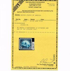 EXCEPTIONAL GENUINE SCOTT #572 VF-XF MINT PRISTINE OG NH 1923 DEEP BLUE PF CERT