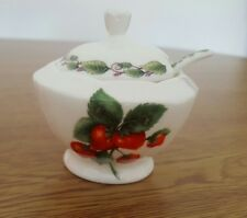 Redwood Collection Limited Edition Jam Pot W/Spoon English Bone China Strawberry