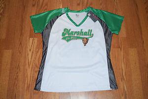 NWT Womens KNIGHTS MARSHALL UNIVERSITY Herd Green White NCAA S/S V-Neck Shirt XL