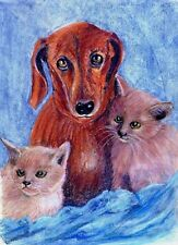 """PASTEL""""THE RELUCTANT BABY SITTER"""" framed & glazed 13""""x17"""" ANIMAL REALISM"""