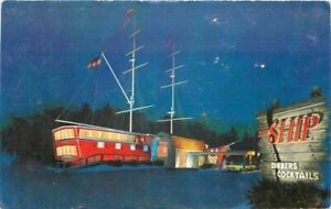 Lynnfield Massachusetts Ship Restaurant roadside Night Neon Postcard 20-10842