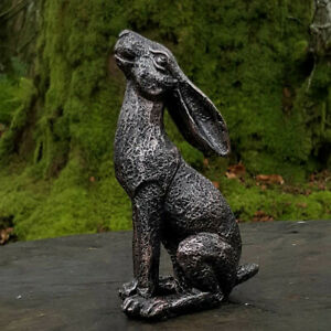 Moon Gazing Bronze Effect Resin Hare Garden Ornament Patio Lawn Decoration New