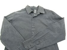 RVCA Men's Button Down Long Sleeve Shirt Faded Black White Pinstripe Size Medium