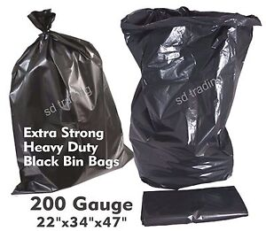 50 x Extra Strong Heavy Duty Compactor Sacks 200g Black Bin Refuse Bags