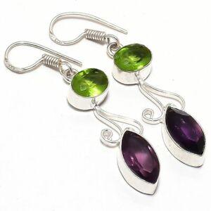 "Amethyst, Peridot Gemstone Handmade Ethnic Silver Jewelry Earring 2.0"" RJ3640"