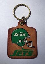Vintage NFL Football New York Jets Logo Leather Keychain - NOS