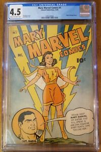 Mary Marvel Comics #1 1945 CGC 4.5 Origin Georgina Sivana Fawcett Comic family