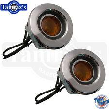 68 Dodge Front Fender Side Marker Light Lamp Amber Lens assembly - CURVED Pair
