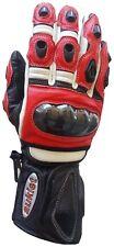 Guanto Moto Pista Racing Pelle Protezioni Perfessionali S M L XL XXL  Rosso