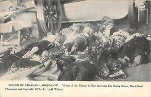 1907 Dead Bodies Steamer Larchmont Wreck Victims Block Island RI post card