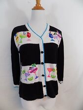 Jack B Quick Cocktail Theme Sweater Alcohol Drinks Embellished Petite S PS