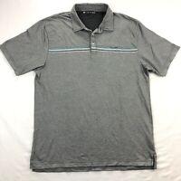 Travis Mathew Mens Large Gray Stripe Short Sleeve Golf Polo Shirt