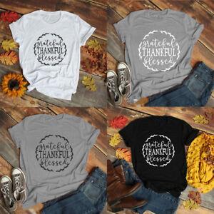 Thankful Grateful Blessed Christian T-shirt Faith Fesus Tee Faith Action Tops
