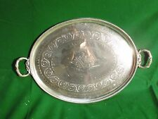Large Tray Silver Plated, English, Rope Border, Engraved Face 1860 Fancy Style