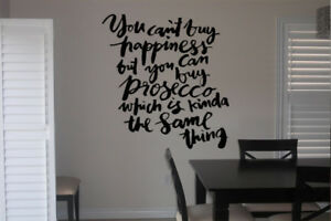 Prosecco Happiness Quote Wall Art Decal Dining Decor Vinyl Quote For Her Wine