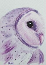 "ORIGINAL barn owl Watercolour painting  ACEO 2.5"" x 3.5"""