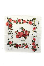 Chanel Womens Silk Floral Motif Scarf Ivory Pink Green